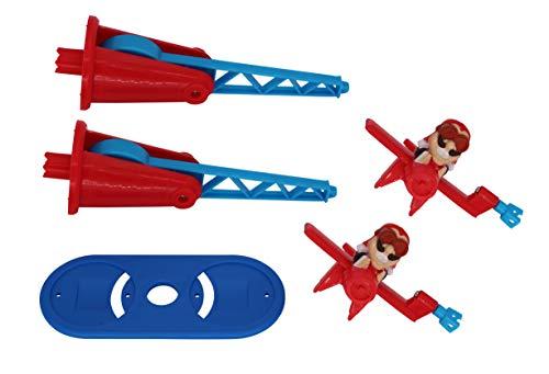 Doppeldecker für Looping Louie Spielarm mit 2 Flugzeugen Tuning Edition 2020 (Adapterplatte + 2X Flieger, Blau)