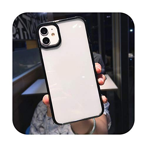 Colorido parachoques a prueba de golpes Trasparent teléfono caso para iPhone 12 Mini 11 Pro Max XR X XS Max 8 7 6S Plus SE 2020 transparente contraportada - Negro - Para iPhone 6 6S