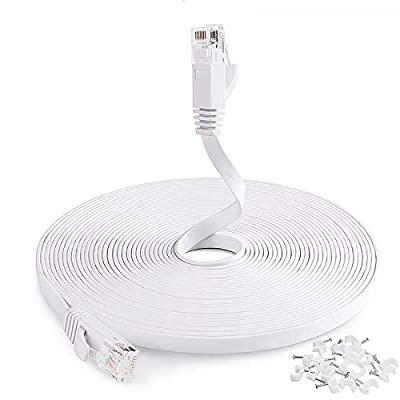 Cat6 Ethernet Cable 25ft,Flat Ethernet Cord Cat6 Internet LAN Wire Network Cable with Clips Snagless RJ45 Connectors for Adapter, Router,Switch, Modem,Laptop,PS4-Faster Than Cat5e Cable White