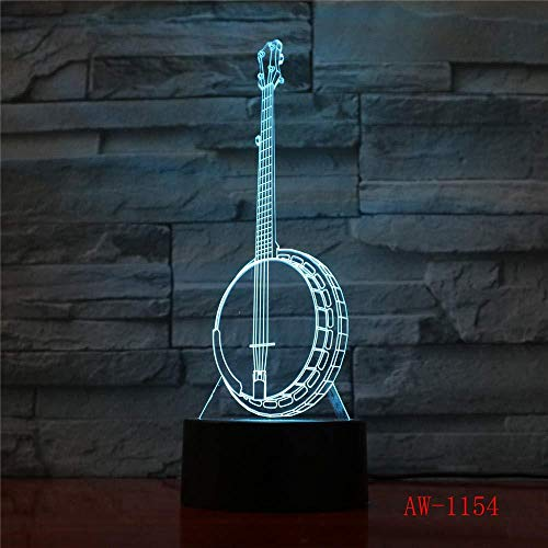 3D LED 7 color changing children's gift creative night light banjo piano piano modeling lamp musical instrument home decoration lamp-remote control