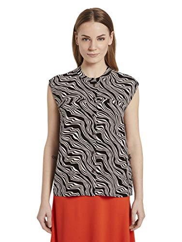 TOM TAILOR Damen Blusen, Shirts & Hemden Gemusterte Bluse in Kastenform Black Wavy Design,34,23355,2999