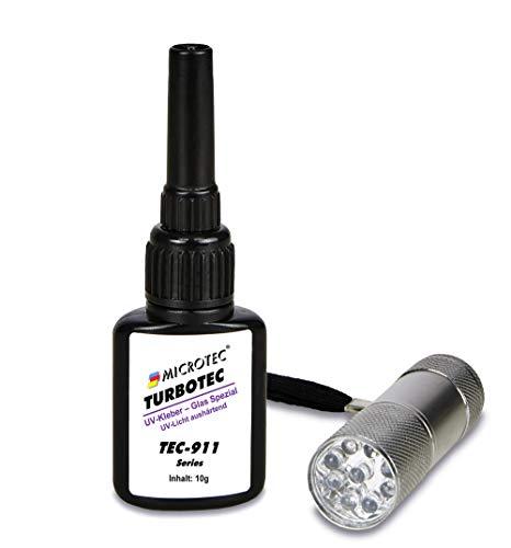 Microtec® Turbotec 911 Glas Spezial UV-Kleber | extra stark für Glas/Metall | 10g | mit UV-Taschenlampe | lichthärtender und transparenter Klebstoff | Qualitätsprodukt aus Deutschland