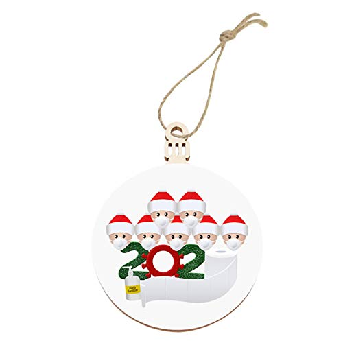 RED-Rainbow 2020 New Christmas Tree Decoration Round Wooden Faceless Old Man Pendants (7Family)