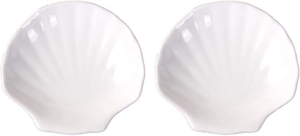 Special Campaign HEMOTON Max 63% OFF 2pcs Shell Appetizer Plate Scallop Din Ceramic Sea