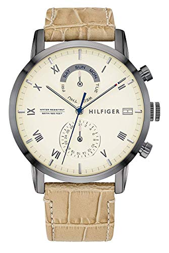 Tommy Hilfiger Reloj Analógico para Hombre de Cuarzo con Correa en Cuero 1710399