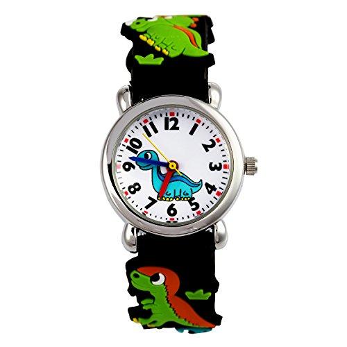 El Reloj de Niños de Vinmori, Reloj de Cuarzo con Dibujos Animados Bonitos de 3D a Prueba de Agua Regalo para Chicos Niños y Niñas Dinosaurio-Negro