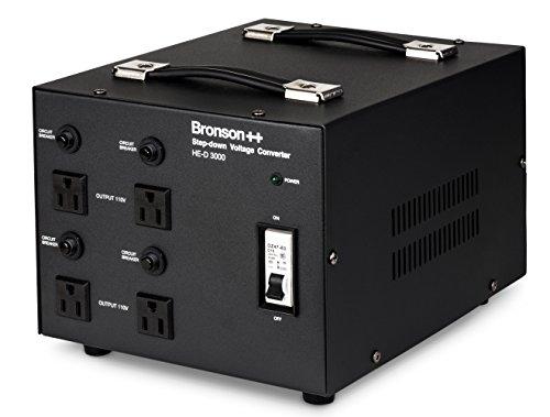 Bronson++ HE-D 3000 Transformateur - 110 Volts Sortie AC - Haute efficacité/Faible Bruit USA Convertisseur de Tension - 3000 Watts - Bronson 3000W