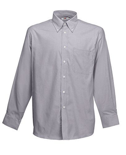 Fruit of the Loom Long Sleeve Shirt Chemise Casual, Gris (Oxford Grey), XX-Large Homme
