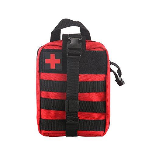 Winbang Bolsa Médica Táctica, Botiquín de Primeros Auxilios Bolsa Táctica Molle Rip-Away EMT Bolsa IFAK Medical para Situaciones de Emergencia Táctica (Rojo)