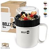 BELLYCUP tazza per cereali To Go – senza bisfenoli BPA – Pratica tazza portavivande da viaggio – Disponibile in grigio, rosa o blu – yogurt insalata o zuppa
