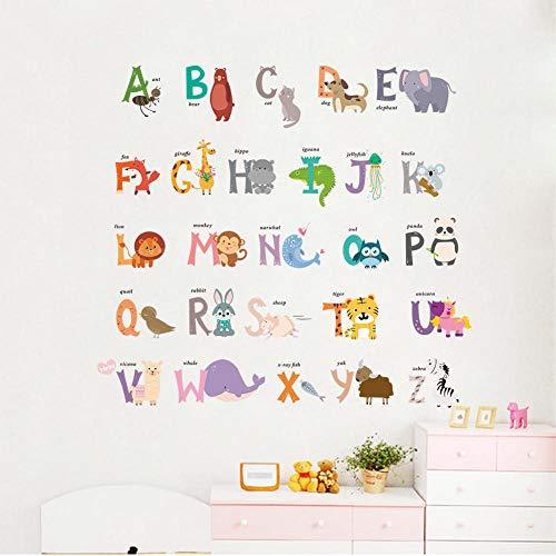 Child muurstickers, cartoon creatief waterverf dierletters, doe-het-zelf vinyl behang zelfklevend kinderdagverblijf slaapkamer woonkamer decoratie