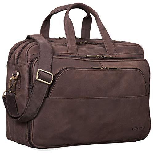 STILORD 'Artemis' Vintage Lehrertasche Leder Aktentasche Herren Damen Businesstasche groß für Zwei Aktenordner 15,6 Laptoptasche Echtleder, Farbe:matt - Dunkelbraun