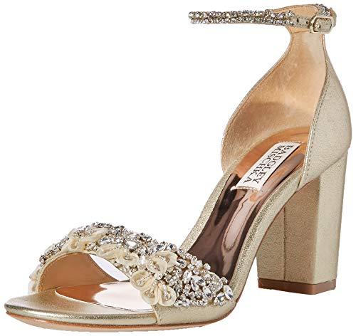 Badgley Mischka Damen Finesse II Sandalen mit Absatz, Platino Metallic Wildleder, 40 EU