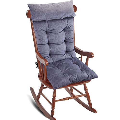 Big Hippo Rocking Chair Cushion,Soft Thicken Rocking Chair Cushion Set with Detachable Neck Pillow Back Support,Comfy Chair Cushion Pad with Ties for Outdoor Indoor Home Office,Gray
