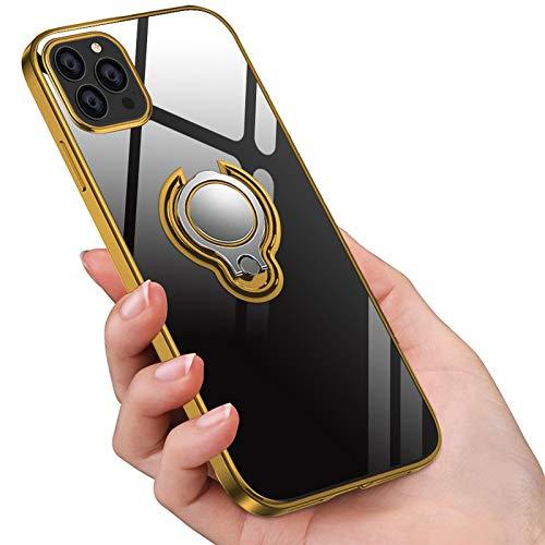 Jaligel - Funda para iPhone 12 Pro Max de 6,7 pulgadas, fina, silicona, TPU, 360 grados, soporte magnético para los dedos, para coche, antiarañazos, color dorado