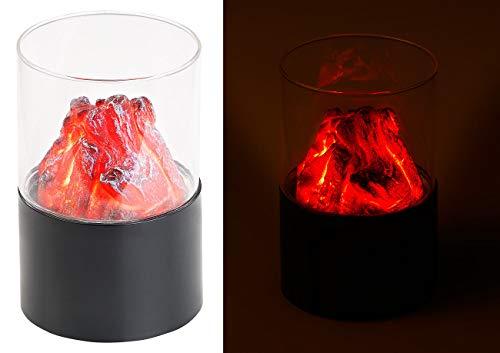Carlo Milano LED Feuer: Mini-Dekofeuer mit Flackerlicht, Sichtglas, batteriebetrieben (LED Tischfeuer)