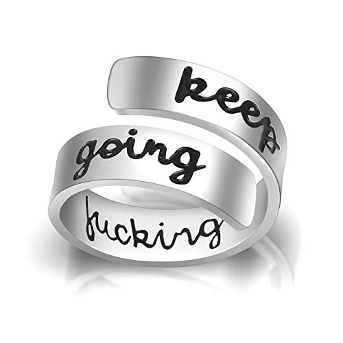 Jovivi Silver Stainless Steel Engraved Keep Going Ring Opening Adjustable...
