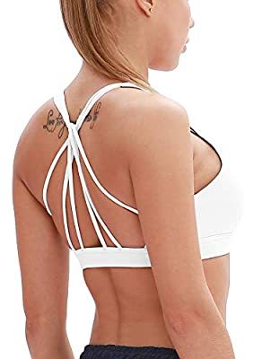 icyzone Padded Strappy Sports Bra Yoga Tops Activewear Workout Clothes for Women (S, Off White)
