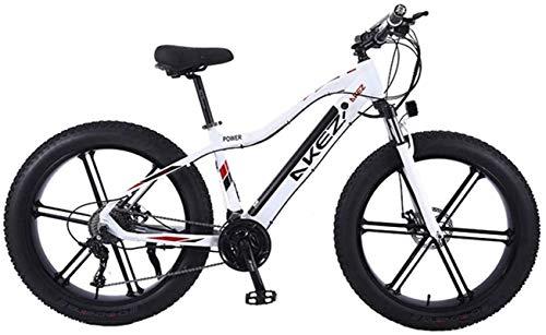 Bici electrica, Bicicleta eléctrica plegable de 26 pulgadas Fat Tire bicicletas de montaña de nieve con la rueda integrada super aleación de magnesio, la suspensión total de la prima y el 27 Speed G