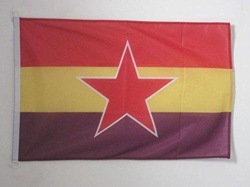 AZ FLAG Bandera ESPAÑA Republicana Estrella del EJÉRCITO Popular 90x60cm Uso Exterior - Bandera DE LA Republica ESPAÑOLA 60 x 90 cm Anillos