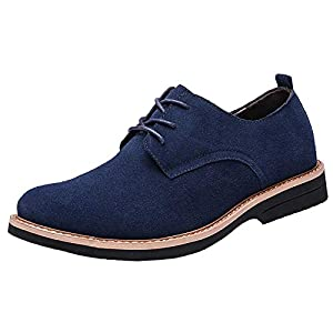 [SOARHOPE] レースアップシューズ メンズ 本革 スエードシューズ カジュアルシューズ 紳士靴 通勤用 ブルー 26.0cm