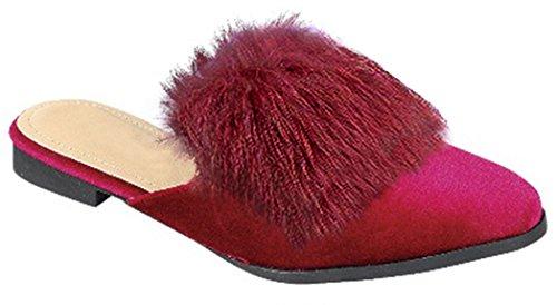 Best Prime Small Feet Hard Sole Low Heel Walking Fluffy Mule Slipper Birthday Dress Shoes Sandals for Teen Girl Women (Burgundy Size 5)
