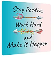 """Beautiful Gaming Mouse Pad, """"Stay Positive, Work Hard, and Make It Happen"""" Soft Teal-Pink Ombre Design, 11x9"""" Extra Thick, No-Slip Rubber Base, Motivational Inspirational Quote, [並行輸入品]"""