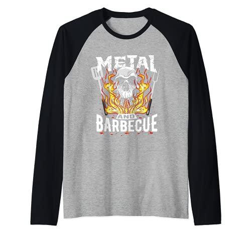 Heavy Metal Y Barbacoa Hard Rock Biker BBQ Rockabilly Camiseta Manga Raglan