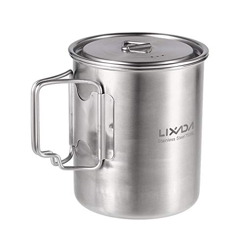 Lixada Camping Water Cup with Foldable Handles and Lid 750ml Stainless Steel Mug Hanging Pot for Camping Hiking Backpacking Picnic