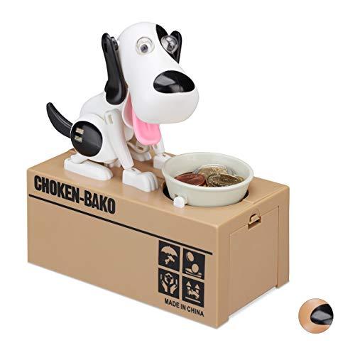 Relaxdays 10024272_470, weiß-schwarz Spardose Hund, Gelddose, elektrische Sparbüchse für Kinder, ab 6 Jahre, HBT: 16 x 16,5 x 8 cm