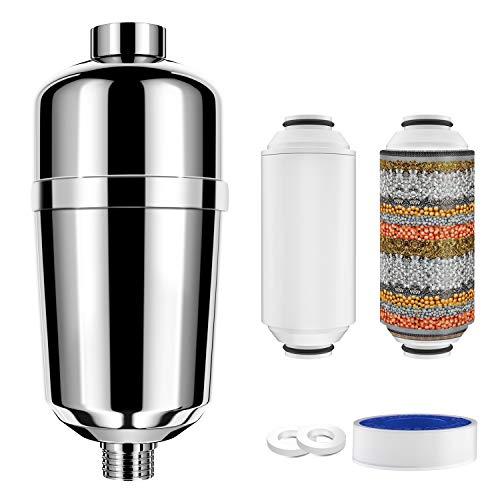 FYLINA Filtro doccia con filtro soffione doccia a 16 stadi per acqua dura, filtro acqua doccia con cartucce filtranti sostituibili, filtro soffione do