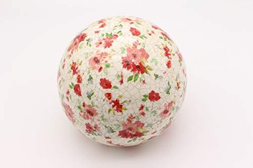 linoows Rosenkugel, Landhaus Gartenkugel Bunte Streublumen, Keramik Craquelé Kugel 16 cm