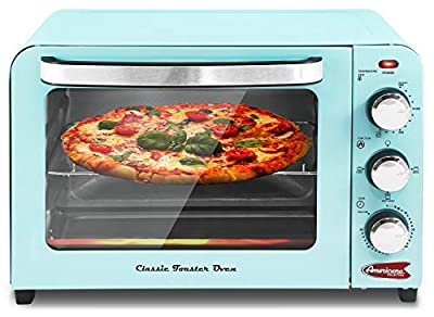 """Elite Gourmet Vintage Diner 50's Retro 12"""" Countertop Toaster oven, Bake, Broil, Toast, Fits 9"""" Pizza, Temperature Control & Adjustable 60-Minute Timer 1300W, 6 Slice, Mint Blue"""