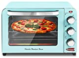 Elite Gourmet Americana ERO-2600XBL Fits 12' Pizza Vintage Diner 50's Retro Countertop Toaster oven Bake, Broil, Toast, Temperature Control & Adjustable 60-Minute Timer, 6 Slice, Mint Blue