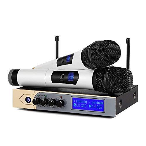 Kabelloses Mikrofon System, UHF Dual Channel Karaoke Mikrofon Drahtloses Handheld Bluetooth Funkmikrofon Set mit Karaoke Mixer für Home Party, Karaoke, Besprechung, Hochzeit im Freien