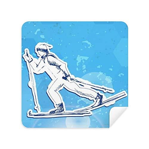 DIYthinker Winter Sport Snowboarden Blauw Wit Illustratie Bril Schoonmaken Doek Telefoon Screen Cleaner Suede Stof 2 Stks