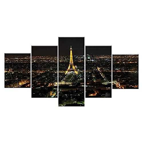 5 Piezas Cuadros Decoracion Modernos Tour En Vista Nocturna De París Decoracion Hogar Vista De Impresión En Lienzo Salón Apartamento Listo Para Colgar 150 X 80Cm