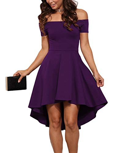 Sidefeel Women Off Shoulder Short Sleeve High Low Skater Dress Medium Purple