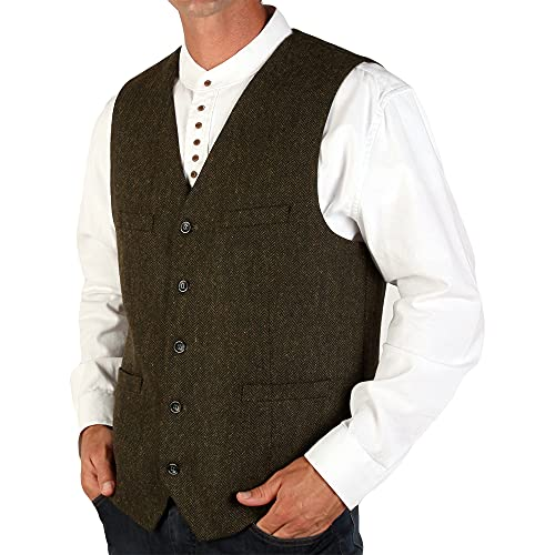 The Celtic Ranch Men's Blended-Wool Irish Tweed Vest with Full Back, Fabric Belt, 4 Pockets, and Herringbone Pattern (Olive, X-Large)