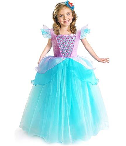 Disfraz de la Sirenita Ariel para niñas de princesa, disfraz de Halloween