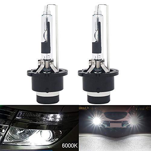 HSUN D2R HID Lot de 2 ampoules xénon 12 V 35 W en métal de qualité pour phare de phare de qualité 6000 K Blanc pur