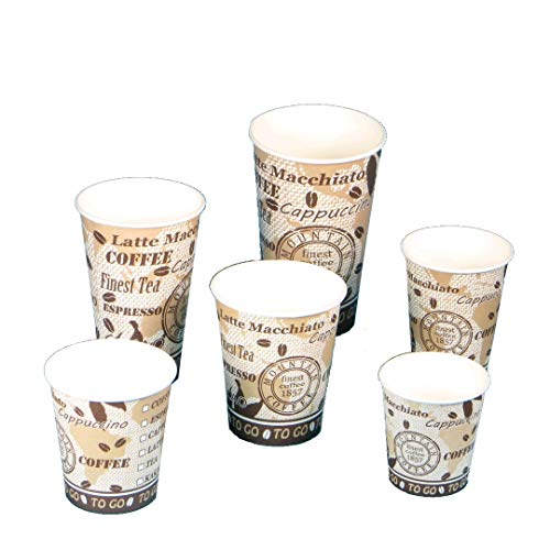 Premium Coffee to go Becher Kaffeebecher Mountain Coffee Made in Germany - Verschiedene Größen zur Auswahl (7oz 180ml Ø70,3mm (2500St))
