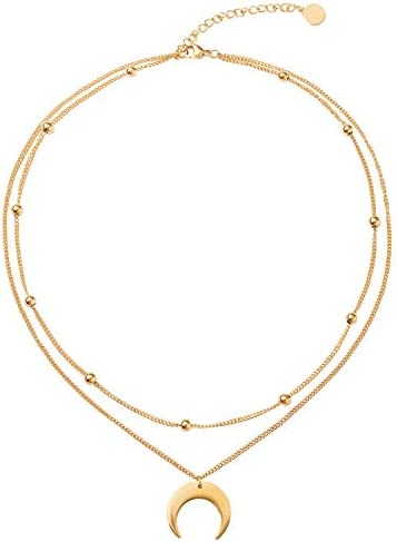 BaubleStar Crescent Moon Charm Pendant Layered Collar Necklace Layering Titanium Chain Choker product image