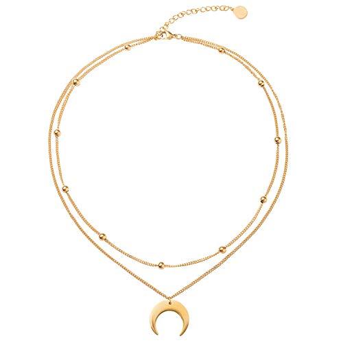 BaubleStar Damen Layered Kette Halbmond Anhänger Gold Zarte Mehrreihige Kette mit Mond Anhänger aus Titan nickelfrei Geschenk Schmuck für Frauen