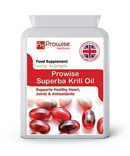 Superba Krill Oil 500mg 60 Softgels - 1000mg Per Serving - High Grade Pure Antarctic Sourced Red...
