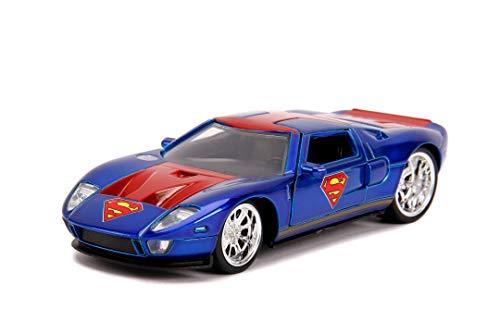 Jada Toys Superman 2005-Coche de Juguete Ford GT (Escala 1:32), Color Azul y Rojo (253252008)