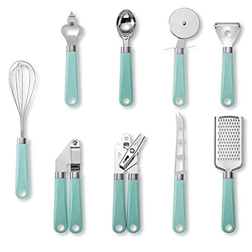 Creativo juego de utensilios de cocina de acero inoxidable con mango de plástico, 1 abrelatas, 1 cuchara para helado, 1 cortador de pizza, 1 prensa de ajos, 1 batidor