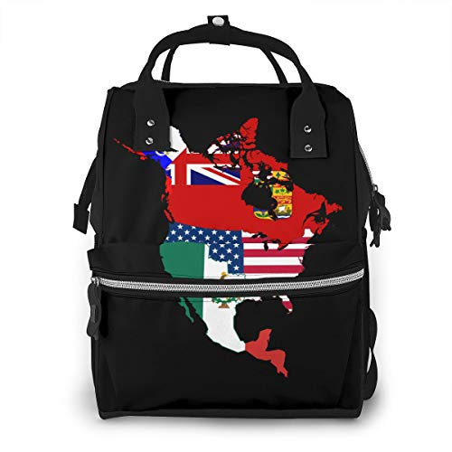 North American Historic Flag Map Baby Diaper Bag Backpack,Multi-Function Waterproof Large Capacity Travel Nappy Bags For Mom