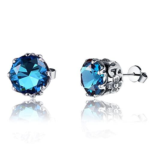 WLLLTY Pendientes para Mujer Moda Azul Topacio 925 Pendientes de Plata Pendientes para Mujer Regalos