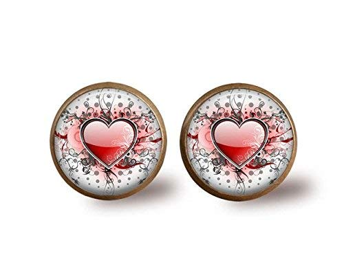 Pendientes de gafa, diseño de corazón envejecido, diseño de cúpula de cristal, corazón rojo, pendientes de bronce, cabujón de vidrio
